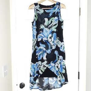 New Directions Black Floral Sleeveless Dress